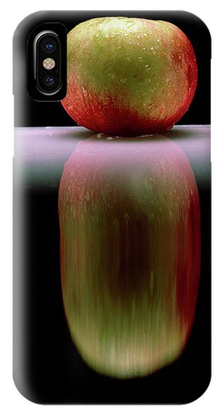 An Apple & Its Reflection In A Polished Table Top Phone Case by Mike Devlin/science Photo Library