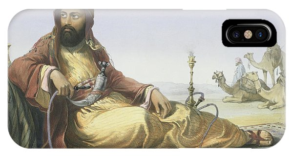Camel iPhone Case - An Arab Resting In The Desert, Title by Emile Prisse d'Avennes