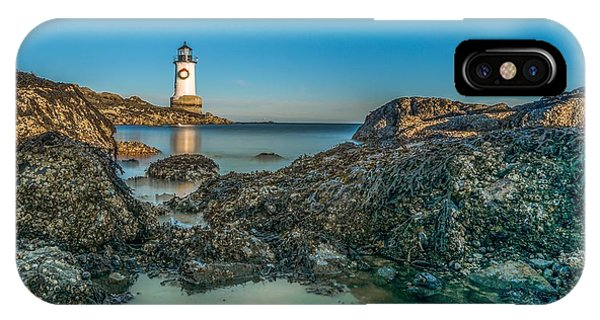 An Early Moon Over Fort Pickering Light Salem Ma IPhone Case