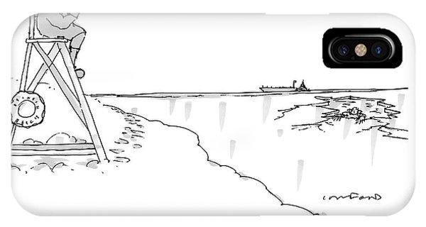 An Eskimo With A Megaphone Sits Atop A Lifeguard IPhone Case
