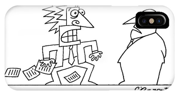 Quick iPhone Case - An Executive Speaks To A Stressed And Geometric by Charles Barsotti