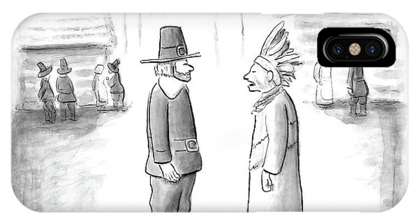American Indian iPhone Case - An Indian Chief Speaks To A Pilgrim by Paul Noth