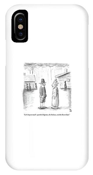 An Indian Chief Speaks To A Pilgrim IPhone Case