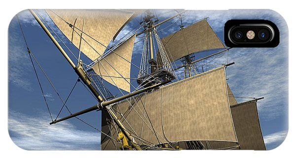 Schooner iPhone Case - An Old Sailing Ship Navigating by Elena Duvernay