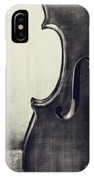 Violin iPhone X Case - An Old Violin In Black And White by Emily Kay
