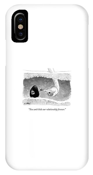 Ostrich iPhone Case - An Underground Mole Says To A Ostrich Poking by Will McPhail