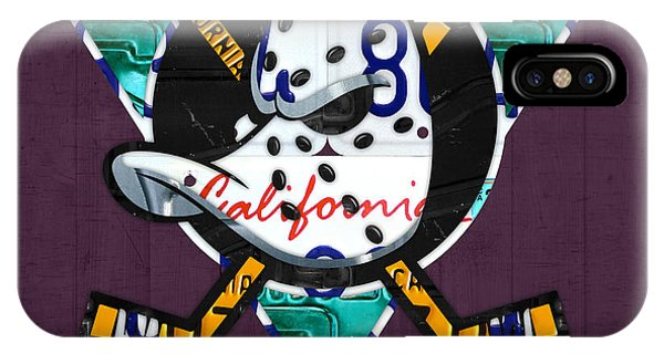 Duck iPhone Case - Anaheim Ducks Hockey Team Retro Logo Vintage Recycled California License Plate Art by Design Turnpike