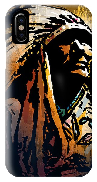 Native American Spirit Portrait iPhone Case - Ancestral Light by Paul Sachtleben