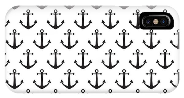 Grey Background iPhone Case - Anchor Pattern Background by Hellena13