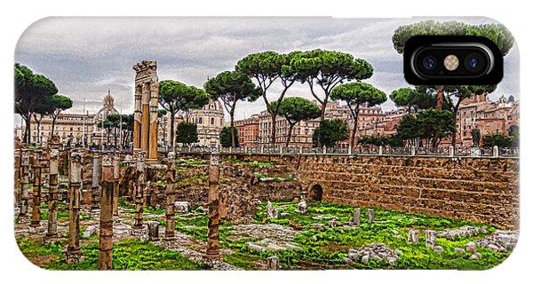 Umbrella Pine iPhone Case - Ancient Forum Ruins - Impressions Of Rome by Georgia Mizuleva