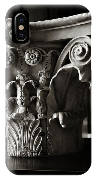 Solidity iPhone Case - Ancient Roman Column In Black And White by Angela Bonilla
