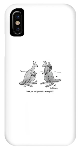 Kangaroo iPhone Case - And You Call Yourself A Marsupial? by Leo Cullum