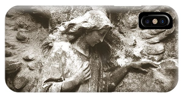Angel Art - Surreal Ethereal Angel Wings Across Cemetery Wall  IPhone Case