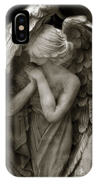 Angels iPhone Case - Angel Photography Spiritual Angel  - Guardian Angel In Prayer - Angel Praying  by Kathy Fornal