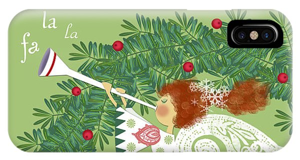 Angel With Christmas Wreath IPhone Case