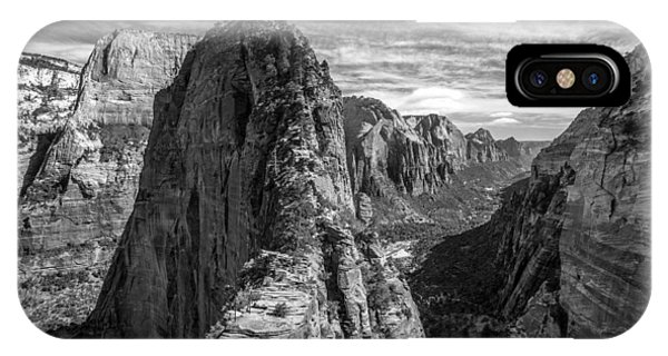 IPhone Case featuring the photograph Angel's Landing In Black And White by Pierre Leclerc Photography