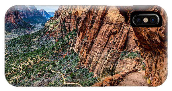 Angels Landing Trail From High Above Zion Canyon Floor IPhone Case