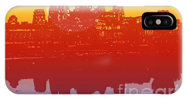 Cambodia iPhone Case - Angkor Wat In Sunset Vector - by Fat fa tin