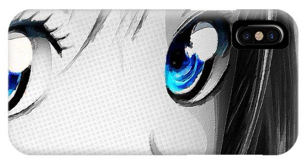 Anime Girl Eyes 2 Black And White Blue Eyes IPhone Case