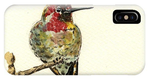 Hummingbird iPhone Case - Anna S Hummingbird by Juan  Bosco