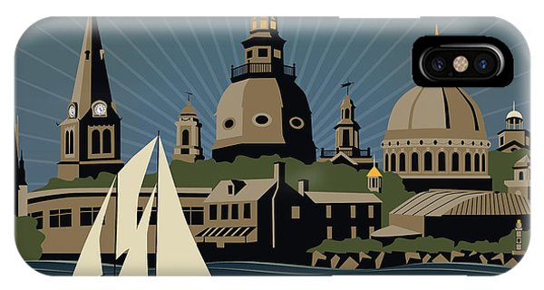 Annapolis Steeples And Cupolas Serenity With Border IPhone Case