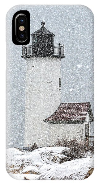 Annisquam Light-snow Storm 1 IPhone Case