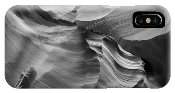 Antelope Canyon Rock Formations Bw IPhone Case