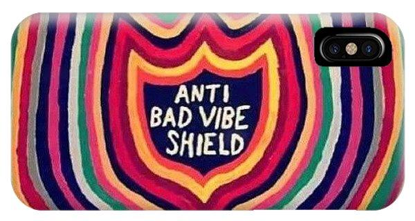 Quirky iPhone Case - #antibadvibe #shield #badvibe by Siobhan Macrae
