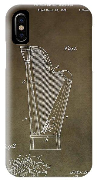 Harp iPhone Case - Antique Harp Patent by Dan Sproul
