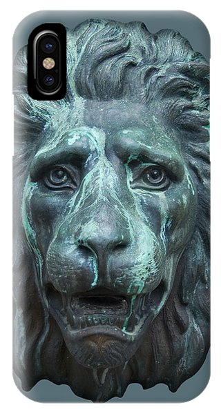 Antique Lion Face In Blue IPhone Case