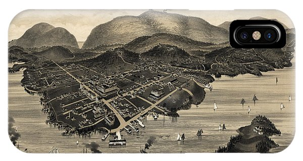 Bar iPhone Case - Antique Map Of Bar Harbor Maine By G. W. Morris - 1886 by Blue Monocle