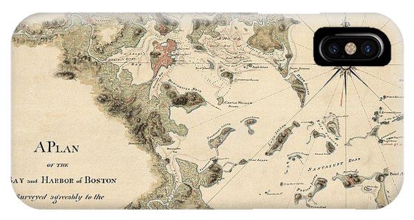 Antique Map Of Boston Harbor By Thomas Wheeler - Circa 1775 IPhone Case