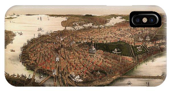 Antique Map Of Boston Massachusetts By John Bachmann - Circa 1877 IPhone Case