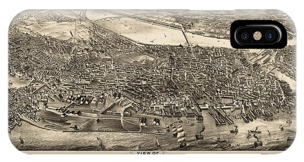 Antique Map Of Boston Masschusetts By H.h. Rowley And Co. - 1880 IPhone Case