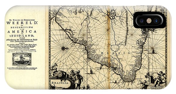 Pacific Ocean iPhone Case - Antique Map Of Brazil 1671 by Celestial Images