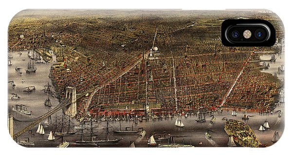 Brooklyn Bridge iPhone Case - Antique Map Of Brooklyn By Currier And Ives - Circa 1879 by Blue Monocle