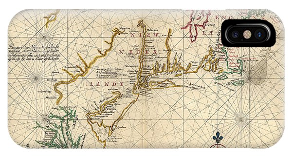 New England Coast iPhone Case - Antique Map Of Colonial America By Joan Vinckeboons - Circa 1639 by Blue Monocle