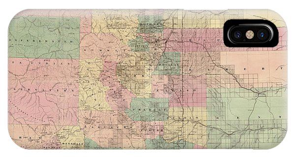 Antique Map Of Colorado By G.w. And C.b. Colton And Co. - 1878 Phone Case by Blue Monocle