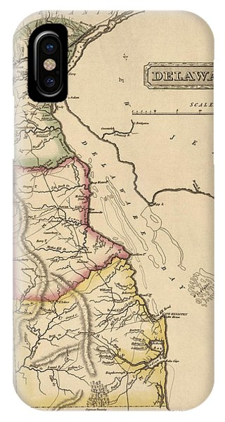 Antique Map Of Delaware By Fielding Lucas - Circa 1817 Phone Case by Blue Monocle