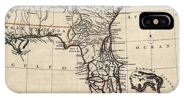 Bahamas iPhone Case - Antique Map Of Florida And The Southeast By Thomas Jefferys - 1768 by Blue Monocle