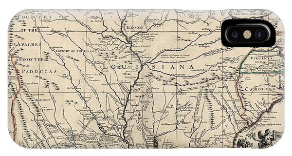 Mississippi River iPhone Case - Antique Map Of Louisiana And The Mississippi River By John Senex - 1721 by Blue Monocle