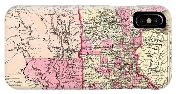 1862 iPhone Case - Antique Map Of Minnesota And The Dakota Territory 1862 by Mountain Dreams
