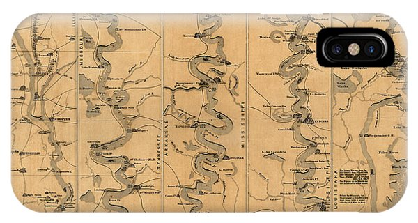 Mississippi River iPhone Case - Antique Map Of Mississippi River By Schonberg And Co. - 1861 by Blue Monocle