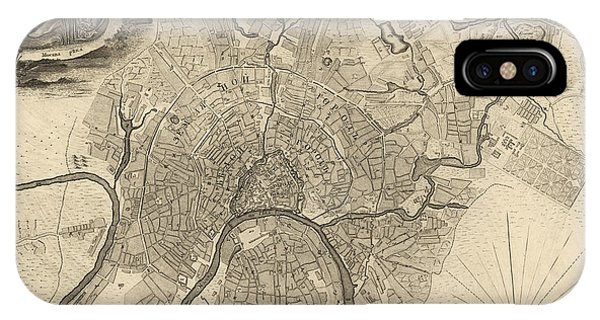 Moscow iPhone Case - Antique Map Of Moscow Russia By Ivan Fedorovich Michurin - 1745 by Blue Monocle