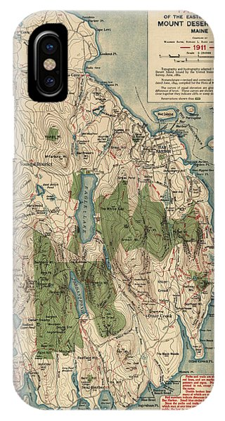 Bar iPhone Case - Antique Map Of Mount Desert Island - Acadia National Park - By Waldron Bates - 1911 by Blue Monocle