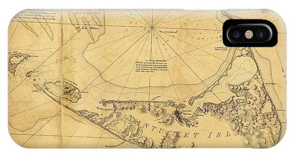 IPhone Case featuring the painting Antique Map Of Nantucket by Celestial Images
