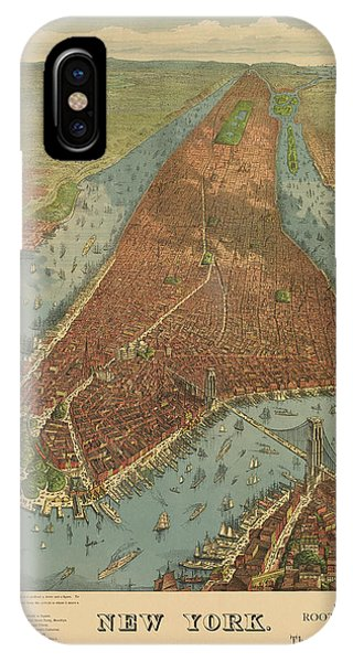 Cities iPhone Case - Antique Map Of New York City - 1879 by Blue Monocle