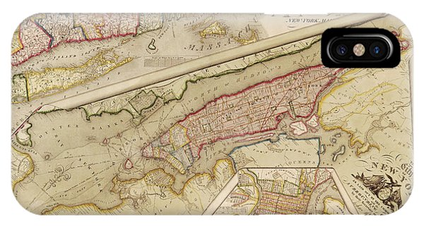 Antique Map Of New York City By John Randel - 1821 Phone Case by Blue Monocle