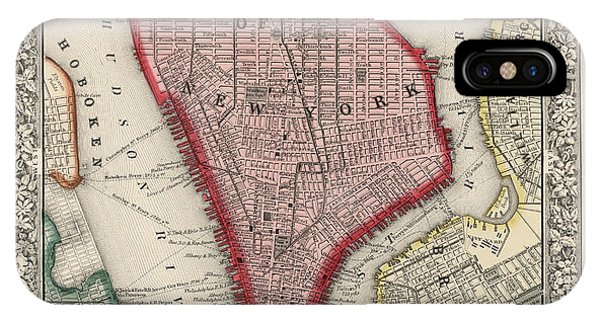 Cities iPhone Case - Antique Map Of New York City By Samuel Augustus Mitchell - 1863 by Blue Monocle