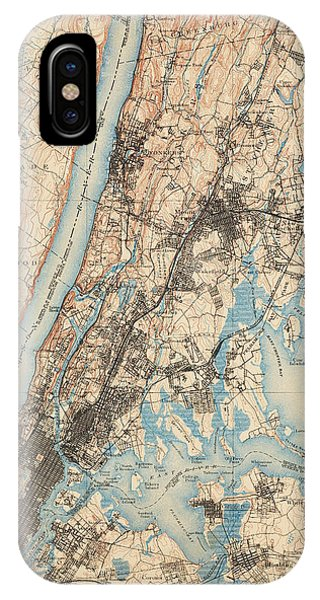 Harlem iPhone Case - Antique Map Of New York City - Usgs Topographic Map - 1900 by Blue Monocle